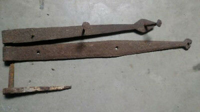 2 Antique Hand forged Iron Strap Hinges Barn Door Gate Vintage Primitive