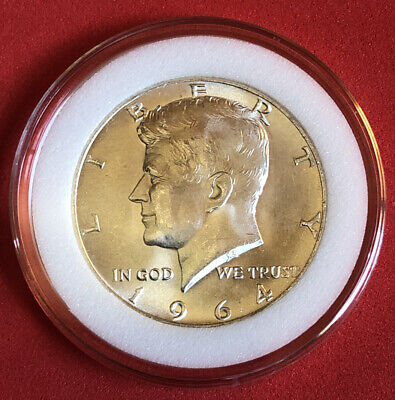 1964 Kennedy Half Dollar 90% Silver BU In Airtight Capsule With Free Shipping