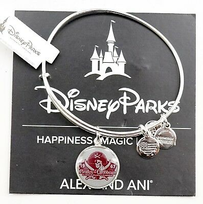 New Disney Alex and Ani Pirates Of The Caribbean 50th Bracelet Silver