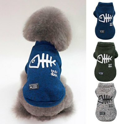 Dog Jumper Fish Bone Printing Sweater Coat Cotton Clothes for Small Breed Dogs