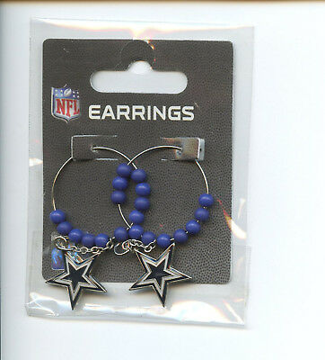 "*NEW* PSG NFL Hoop Dangle Beaded Logo Earrings 1"" DALLAS COWBOYS  NFL030"
