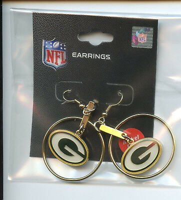 "*NEW* PSG NFL Hoop Dangle Logo Earrings 1"" GREEN BAY PACKERS  NFL029"