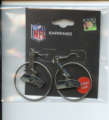 "*NEW* PSG NFL Hoop Dangle Logo Earrings 1"" SEATTLE SEAHAWKS  NFL028"