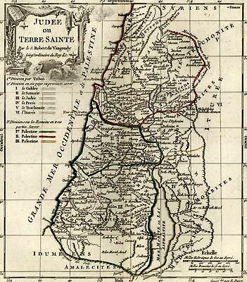 Holy Land Judea ancient Palestine 1778 decorative Vaugondy hand color map