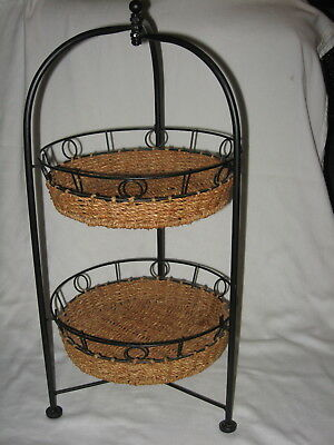Black Wrought Iron 2 Tiered Wicker Pie Plate Collapsible Casserole Plant Stand