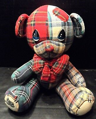 "Teddy Bear 12"" Vintage Precious Moments stuffed Animal Jointed Parker Plaid"