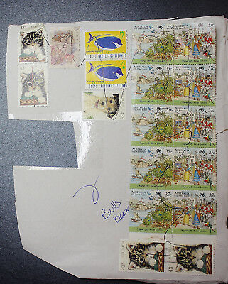 Vintage Bulk Lot Australian Decimal Stamps on Paper Mixed Group Co-Joined 1118
