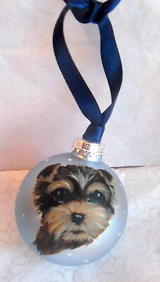 Yorkie Hand Painted Yorkshire Terrier Christmas Ornament 22 00