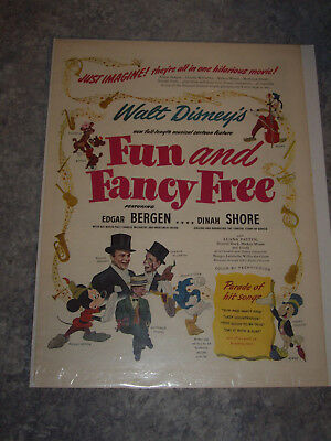 "Vintage Walt Disney's Movie ""Fun And Fancy Free"" 1947 Magazine Ad"