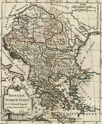 Hungary Turkey in Europe 1788 Vaugondy antique engraved hand color map