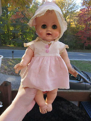 """Vintage 1950s  Madame Alexander 16"""" Baby Kathy Rubber Baby Doll -Cry Box Works"""