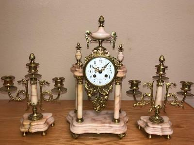 French Louis XVI Four Column Portico Clock Set with  2 arm candelabra circa 1880