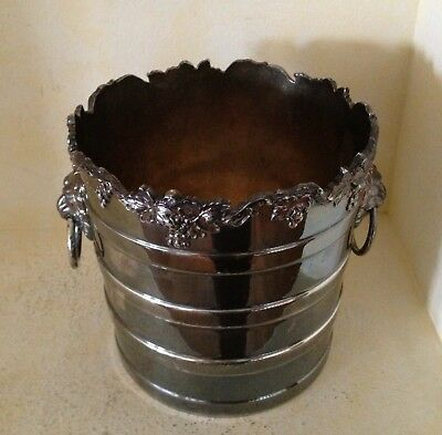Vintage EPNS Silverplate Ice Bucket with Lion Head Handles