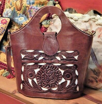 Vintage MEXICO Hand Tooled Brown Leather Bucket Handbag Purse ~ Floral Cutouts