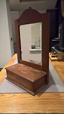 Vintage oak bevel mirrored candle box