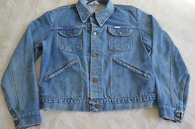 WRANGLER No-Fault Denim Vintage Blue Jean Jacket Mens Trucker Western Medium