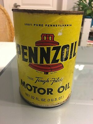 "Vintage PENNZOIL Z7 ""The Tough Film"" 1 Qt. Cardboard Motor Oil EMPTY Can SAE 30"