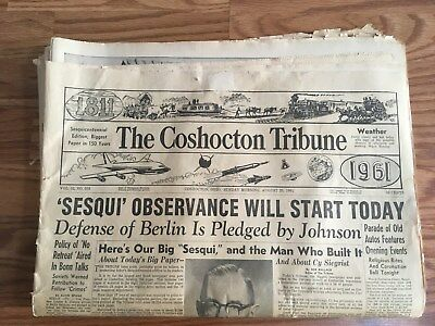 Newspaper Aug 20 1961 The Coshocton Tribune Sesquicentennial 1811-1961 Complete