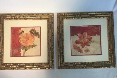 """Kohl's Artwork Blum Chino Wall Art Matted Flower Picture Metal Frame 15""""x15"""" Lot"""