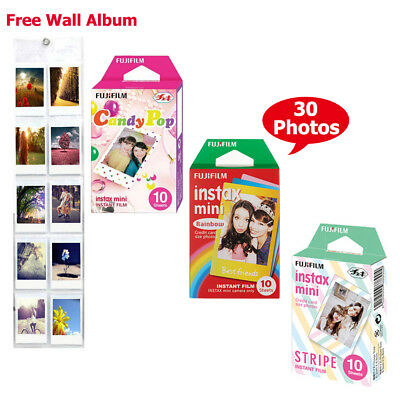 Fujifilm Instax Mini Rainbow, Stripe, Candy Pop Film Color Photo - Fuji 8 50 70