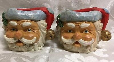 Vintage 1999 Carved Christmas Santa Taper Candle Holders Detailed 3D Pair of 2