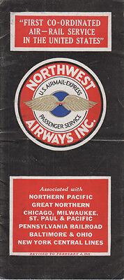 Northwest Airlines timetable 1931/02/02