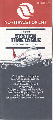 Northwest Orient Airlines timetable 1982/06/01 IAM strike