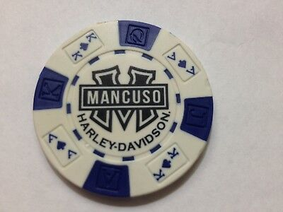 Harley Poker Chip  MANCUSO  CENTRAL HD   HOUSTON, TX    WHITE