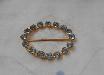 Vintage Ladies Blue Rhinestone  Belt / Sash Buckle .
