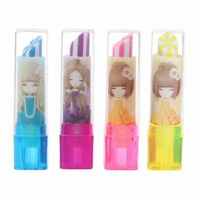 Cute Rotary Lipstick Rubber Eraser Student Stationery Pencil Kids Students Gift