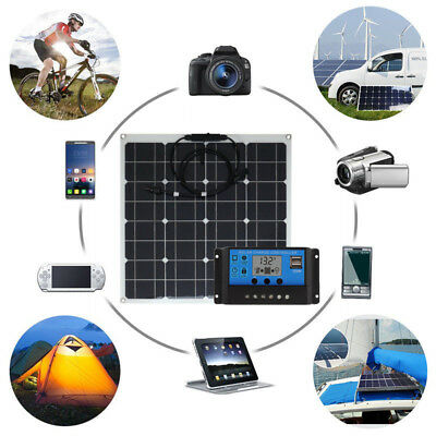 10W 12V/5V USB DC Battery Solar Panel + Controller Kits For Phone RV Car Boat US