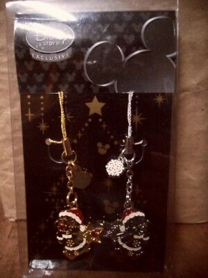 Chip 'n Dale Disney Store Japan Exclusive Christmas Ornament Cell Strap Set RARE