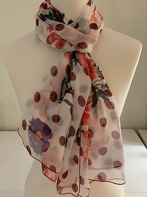 100% Mulberry Silk Scarf | Vermillion Roses & Lilies Burgundy Spots | 65x175cm