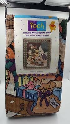 "Disney ~ Pooh ~ Jacquard Woven Tapestry Throw ""Christmas Gathering"" 50x60"""
