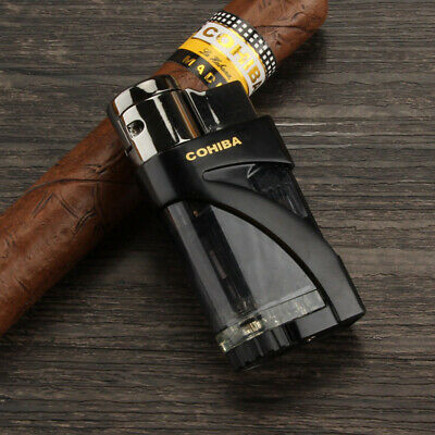 COHIBA Black Butane Gas 2 Trip Torch Jet Flame Cigar Cigarette Lighter Windproof