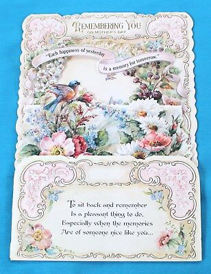 Hallmark Mothers Day Fold Out Stand Up Card Vintage Embossed Flowers Bird