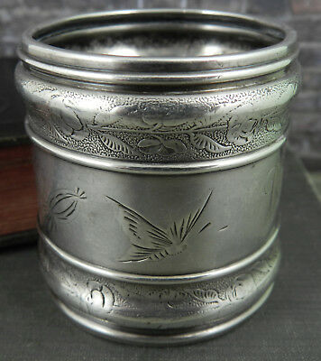 Antique Gorham Sterling Silver Napkin Ring w Butterflies and Flowers #1650