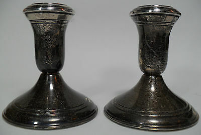 """Lord Silver Inc Sterling Weighted Candle Holders Pair Lot 3⅝"""" Tall 925"""