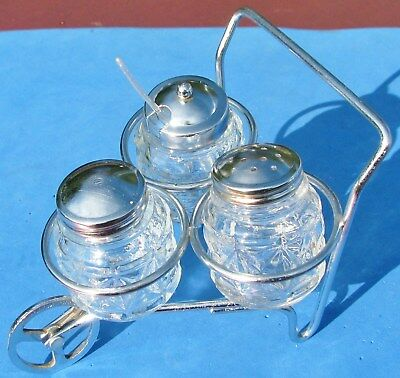 Vtg Condiment Serving Wheel Barrow Caddy Glass & Chrome Salt Pepper Mustard