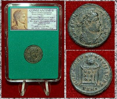 Ancient Roman Empire Coin Of CONSTANTINE II Globe On Altar BEATA TRANQVILITAS