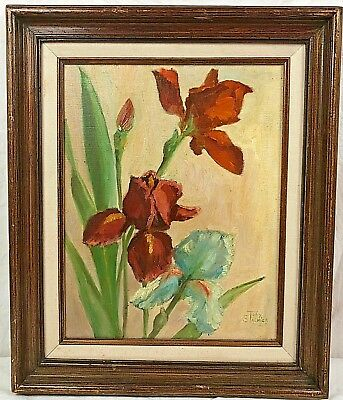 Framed Painting Irises Signed Toby Stalnick
