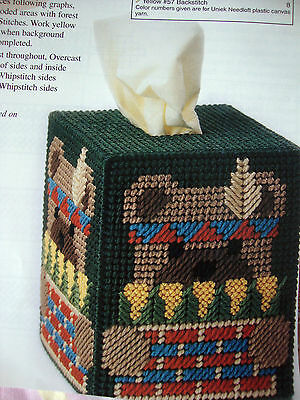 #0651 POLAR  BEAR  Tissue Box Cover  plastic canvas  PATTERN