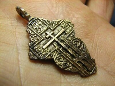 Big ! Relief! Nice Late Medieval Bronze Orthodox Cross Pendant! #700