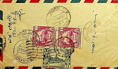 Burma 1950 3 Values On Airmail Cover To India