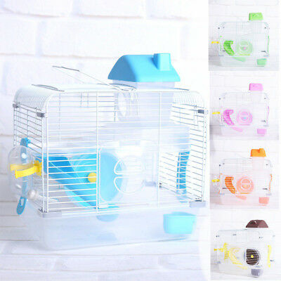 Crystal Pet Cage Hamster Cottage Double Layer Villa House Castle Pet Hamster Toy