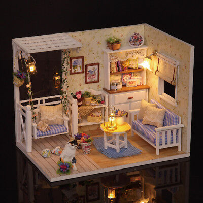 TOP DIY LED Dollhouse Miniature 3D Wooden House Kit Child Toy w// Dust Cover M1C5