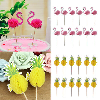 24pcs Pineapple Flamingo Cupcake Cake Topper Decor For Luau Hawaii Birthday