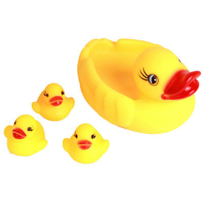 4Pcs yellow rubber ducks bath toy water play baby kids toys**