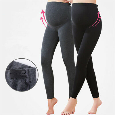 Pregnant Women's Adjustable Thick Warm Maternity Stretchy Skinny Leggings Pants