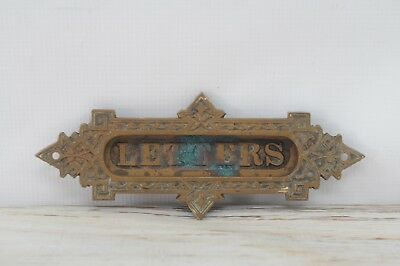 Antique Ornate Victorian Solid Brass Mail Letter Slot Mail Door Victorian Hardwa